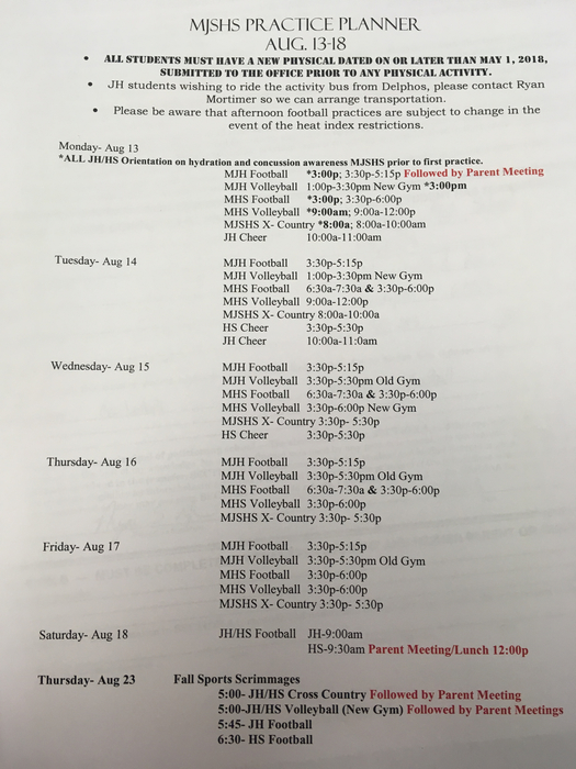 First week sports schedule.