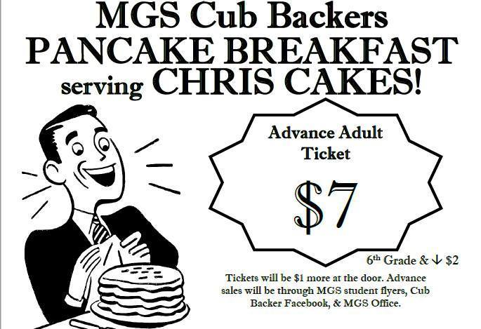 Saturday 7am-11am @ the MGS Gym.  Come out and help support the Cub Backers.  They do amazing things for our school!